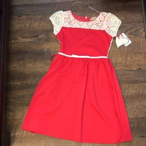 Coral/ White Lace Young Girls Dress